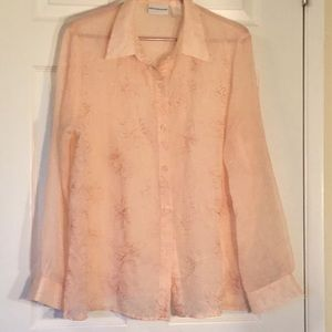 SHEER light pink embroidered blouse